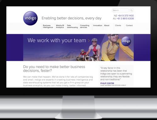 Screenshot of the Indigo website